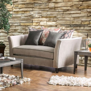 Seran Contemporary Premium Velvet-like Fabric Loveseat by Furniture of America