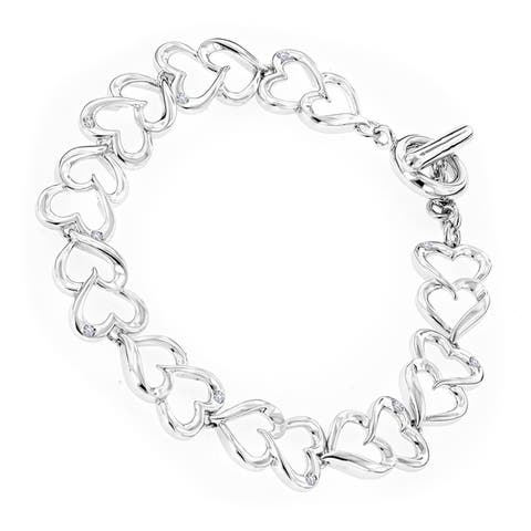 Luxurman Love Quotes Sterling Silver Diamond Accent Heart Link Bracelet
