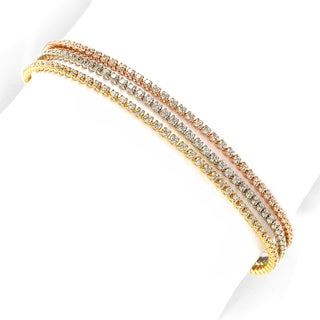 Suzy Levian Tri-Tone Sterling Silver Cubic Zirconia Bracelet