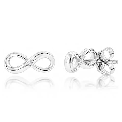 Luxurman Love Quotes Sterling Silver Diamond Accent Infinity Stud Earrings - N/A