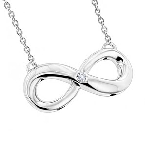 Luxurman Love Quotes Sterling Silver Diamond Infinity Pendant Necklace