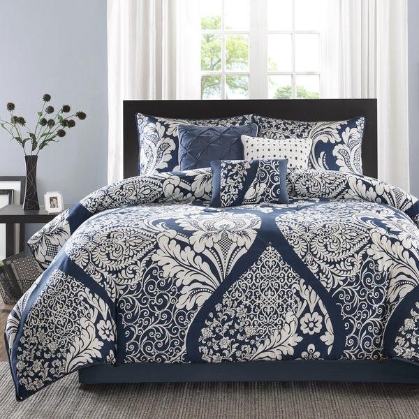 Madison Park Marcella Indigo Cotton Printed 7-Piece King Size Comforter Set (As Is Item)