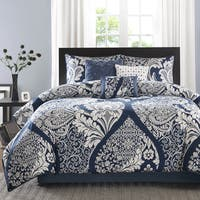 Madison Park Marcella Indigo Cotton Printed 7-Piece King Size Comforter Set (As Is Item)