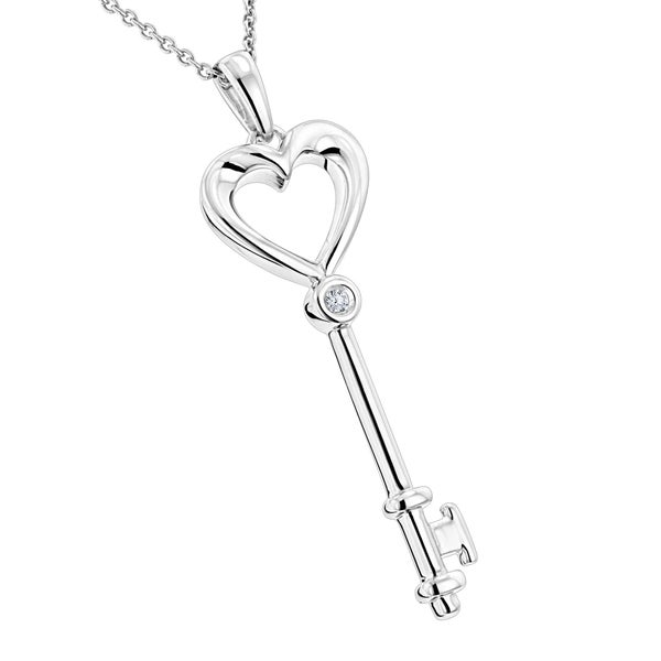 116458eb2a58d Luxurman Love Quotes Sterling Silver Diamond Accent Key Pendant Necklace