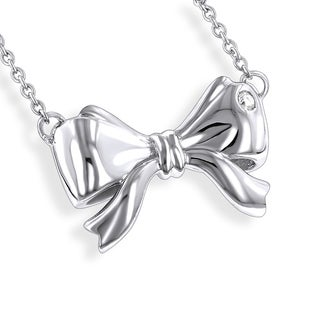Luxurman Love Quotes Sterling Silver Diamond Accent Bow Pendant Necklace