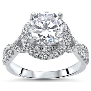 Noori 1 5/6ct TGW Round Moissanite Diamond Double Halo Engagement Ring 14k White Gold