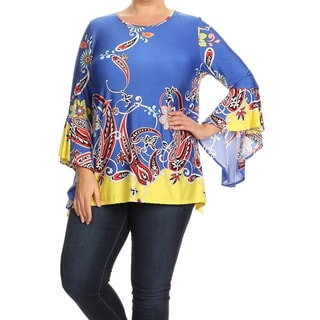 Women's Blue Plus-size Abstract Tunic