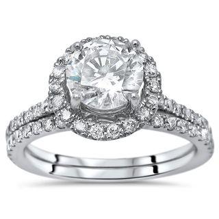 Noori 1 5/6ct TGW Round Moissanite Diamond Engagement Ring Bridal Set 14k White Gold
