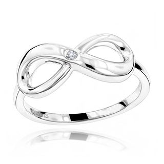 Luxurman Love Quotes Sterling Silver Diamond Accent Infinity Ring