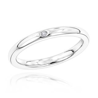 Luxurman Love Quotes Stackable Sterling Silver Diamond Accent Ring