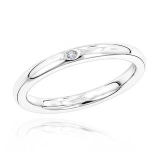 Luxurman Love Quotes Stackable Sterling Silver Diamond Accent Ring (5 options available)