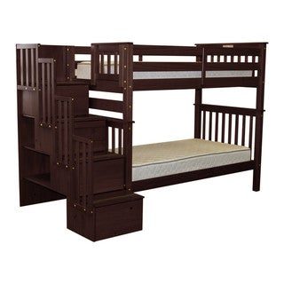 Bedz King Bunk Beds Tall Twin over Twin Stairway with 4 Step Drawers, Cappuccino