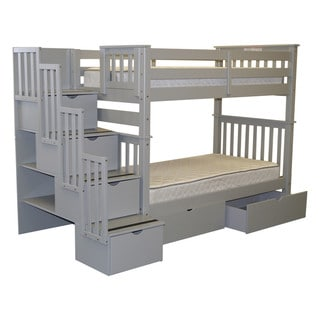 Bedz King Bunk Beds Twin over Twin Stairway, 4 Step & 2 Bed Drawers, Gray