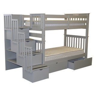 Bedz King Tall Stairway Bunk Bed Twin over Twin with 4 Drawers in the Steps and 2 Under Bed Drawers, Gray