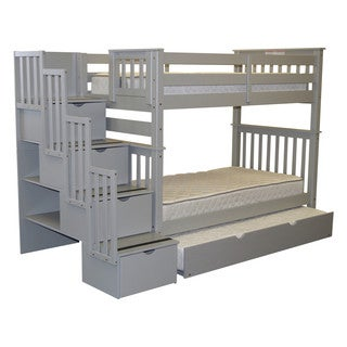Bedz King Tall Stairway Bunk Bed Twin over Twin with 4 Drawers in the Steps and a Twin Trundle, Gray