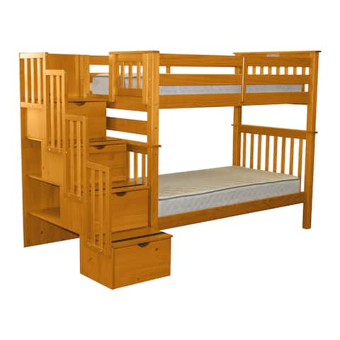 Bedz King Bunk Beds Tall Twin over Twin Stairway with 4 Step Drawers, Honey