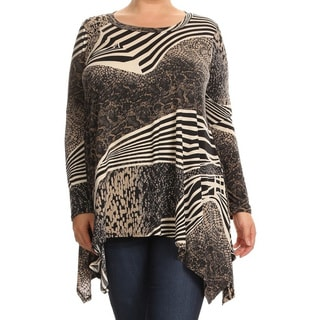 Women's Abstract Plus Size Long-sleeved Tunic