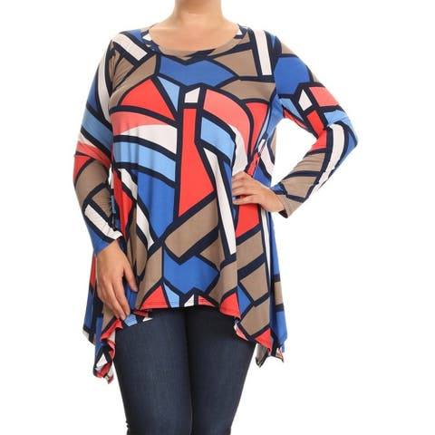 Women's Multicolor Plus-size Abstract Geometric Tunic