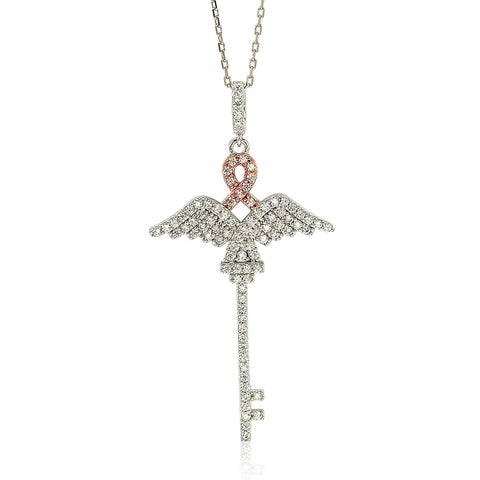 Suzy Levian Sterling Silver Cubic Zirconia Pink Riboon Wings Key Pendant