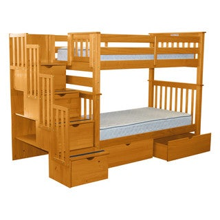 Bedz King Tall Stairway Bunk Bed Twin over Twin with 4 Drawers in the Steps and 2 Under Bed Drawers, Honey