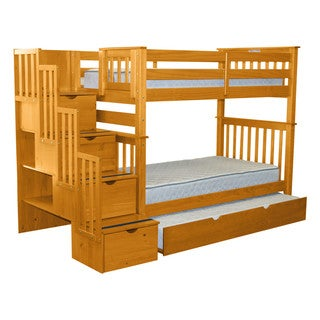 Bedz King Bunk Beds Twin over Twin Stairway, 4 Step Drawers, Twin Trundle, Honey