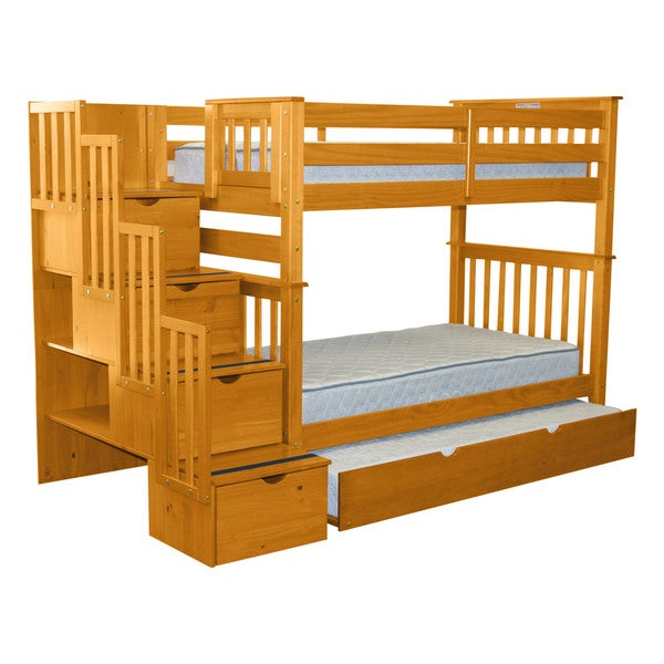Attractive Bedz King Bunk Beds Twin Over Twin Stairway, 4 Step Drawers, Twin Trundle,