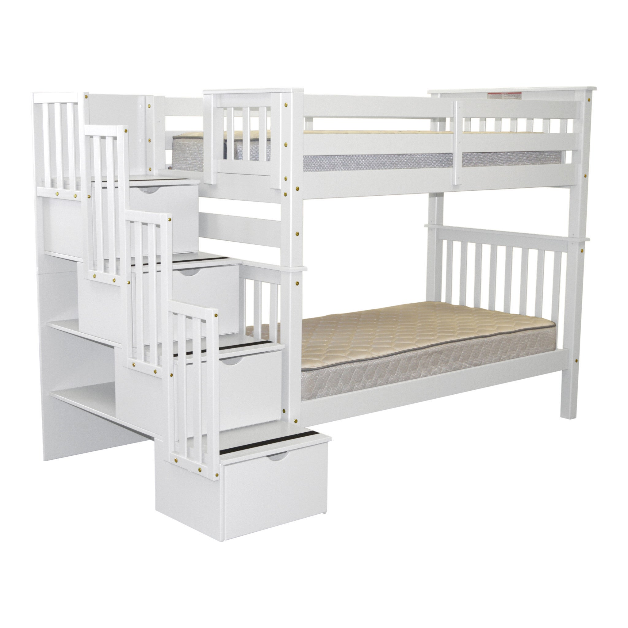 Bedz King Bunk Beds Tall Twin over Twin Stairway with 4 Step White ...
