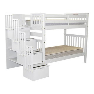 Bedz King Tall Stairway Bunk Bed Twin over Twin with 4 Drawers in the Steps, White