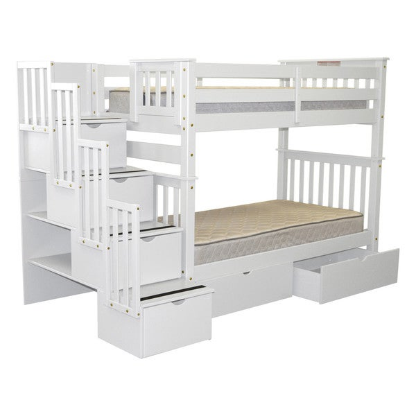 Bedz King Bunk Beds Twin over Twin Stairway, 4 Step & 2 Bed Drawers, White