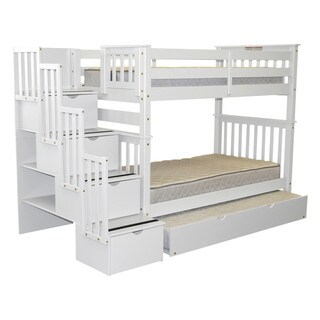 Bedz King Bunk Beds Twin over Twin Stairway, 4 Step Drawers, Twin Trundle, White