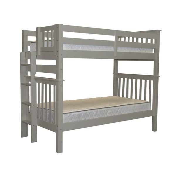 Bedz King Tall Mission Style Bunk Bed Twin over Twin with End Ladder, Grey