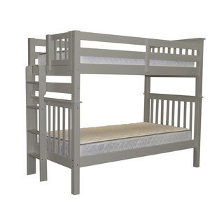 Bedz King Tall Mission Style Bunk Bed Twin over Twin with End Ladder, Gray