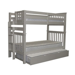 Bedz King Tall Mission Style Bunk Bed Twin over Twin with End Ladder and a Twin Trundle, Grey