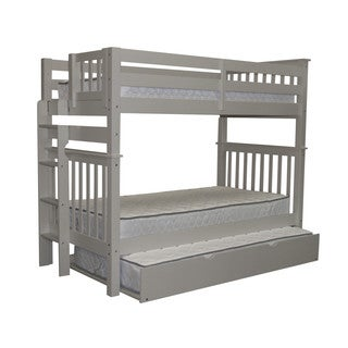 Bedz King Tall Mission Style Bunk Bed Twin over Twin with End Ladder and a Twin Trundle, Gray