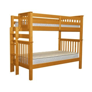 Bedz King Tall Mission Style Bunk Bed Twin over Twin with End Ladder, Honey