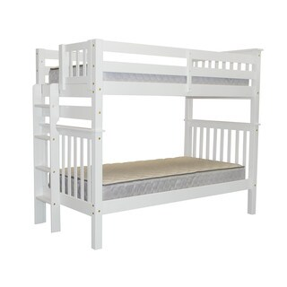 Bedz King Tall Mission Style Bunk Bed Twin over Twin with End Ladder, White