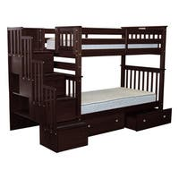 Bedz King Bunk Beds Twin over Twin Stairway, 4 Step & 2 Bed Drawers, Cappuccino