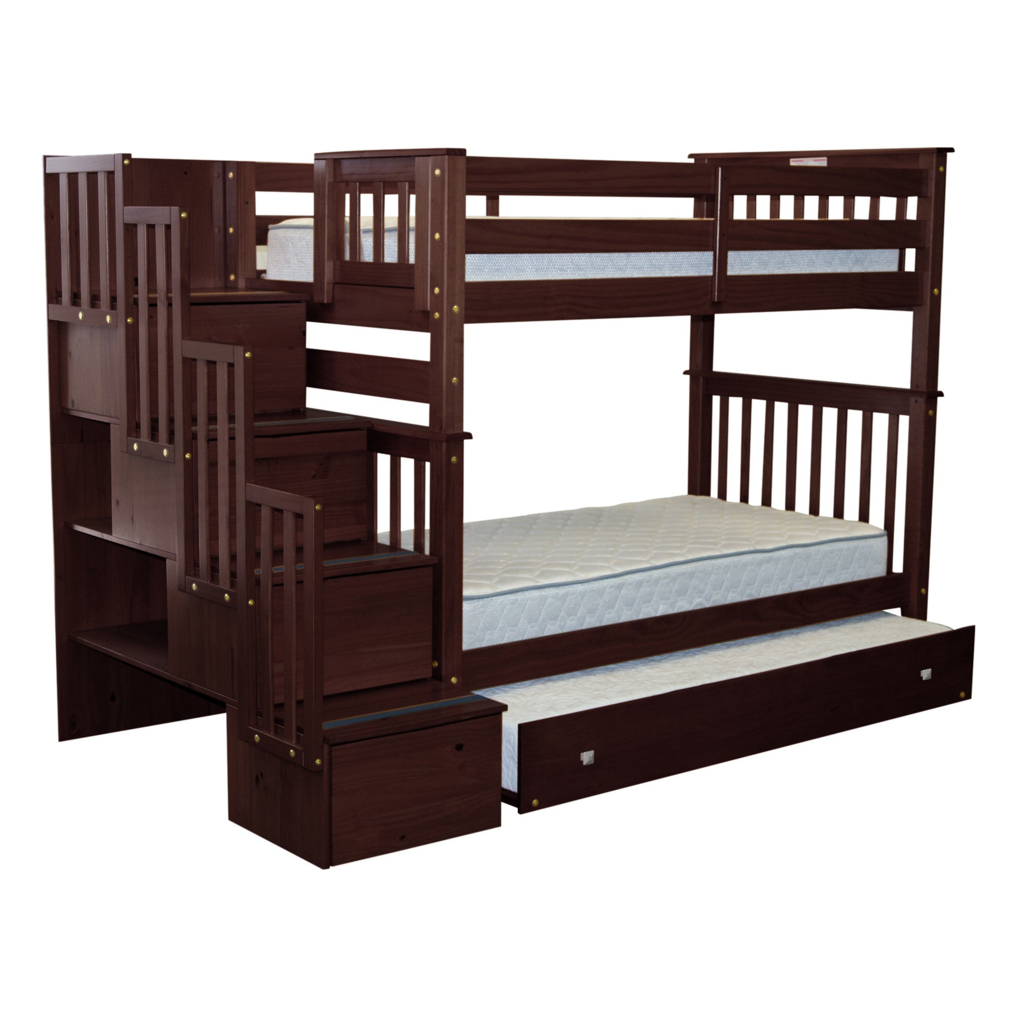 Bedz King Tall Stairway Bunk Bed Twin over Twin with 4 Dr...