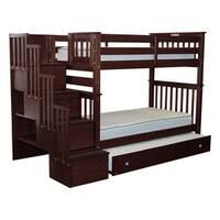 Bedz King Tall Stairway Bunk Bed Twin over Twin with 4 Drawers in the Steps and a Twin Trundle, Cappuccino
