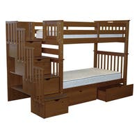 Bedz King Tall Stairway Bunk Bed Twin over Twin with 4 Drawers in the Steps and 2 Under Bed Drawers, Espresso