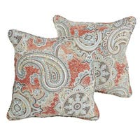 Sloane Coral Paisley Indoor/ Outdoor 18 inch Corded Pillow Set
