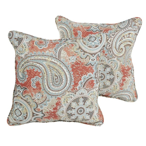 Shop Sloane Coral Paisley Indoor Outdoor 18 Inch Corded