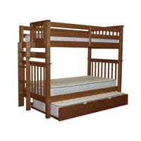 Bedz King Tall Mission Style Bunk Bed Twin over Twin with End Ladder and a Twin Trundle, Espresso