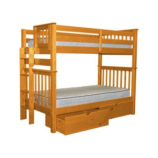 Bedz King Tall Mission Style Bunk Bed Twin over Twin with End Ladder and 2 Under Bed Drawers, Honey