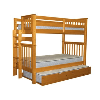 Bedz King Tall Mission Style Bunk Bed Twin over Twin with End Ladder and a Twin Trundle, Honey