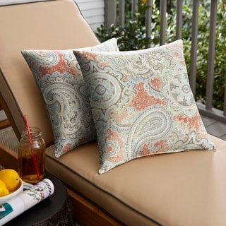 Sloane Coral Paisley Indoor/ Outdoor 18 Inch Pillow Set