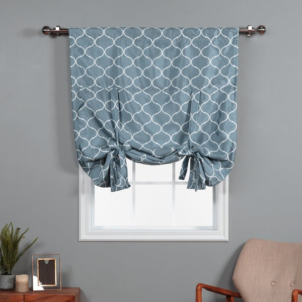 aurora home quatrefoil faux silk 63 inch tie up shade with blackout lining curtain panel 42 x. Black Bedroom Furniture Sets. Home Design Ideas