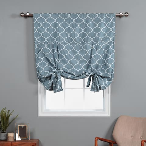 Aurora Home Quatrefoil Faux Silk 63 Inch Tie-up Shade - 42 x 63