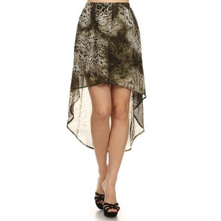 Women's Brown Cheetah-print Semi-sheer Skirt
