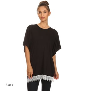 Women's Solid Crochet Lace Hem Tunic